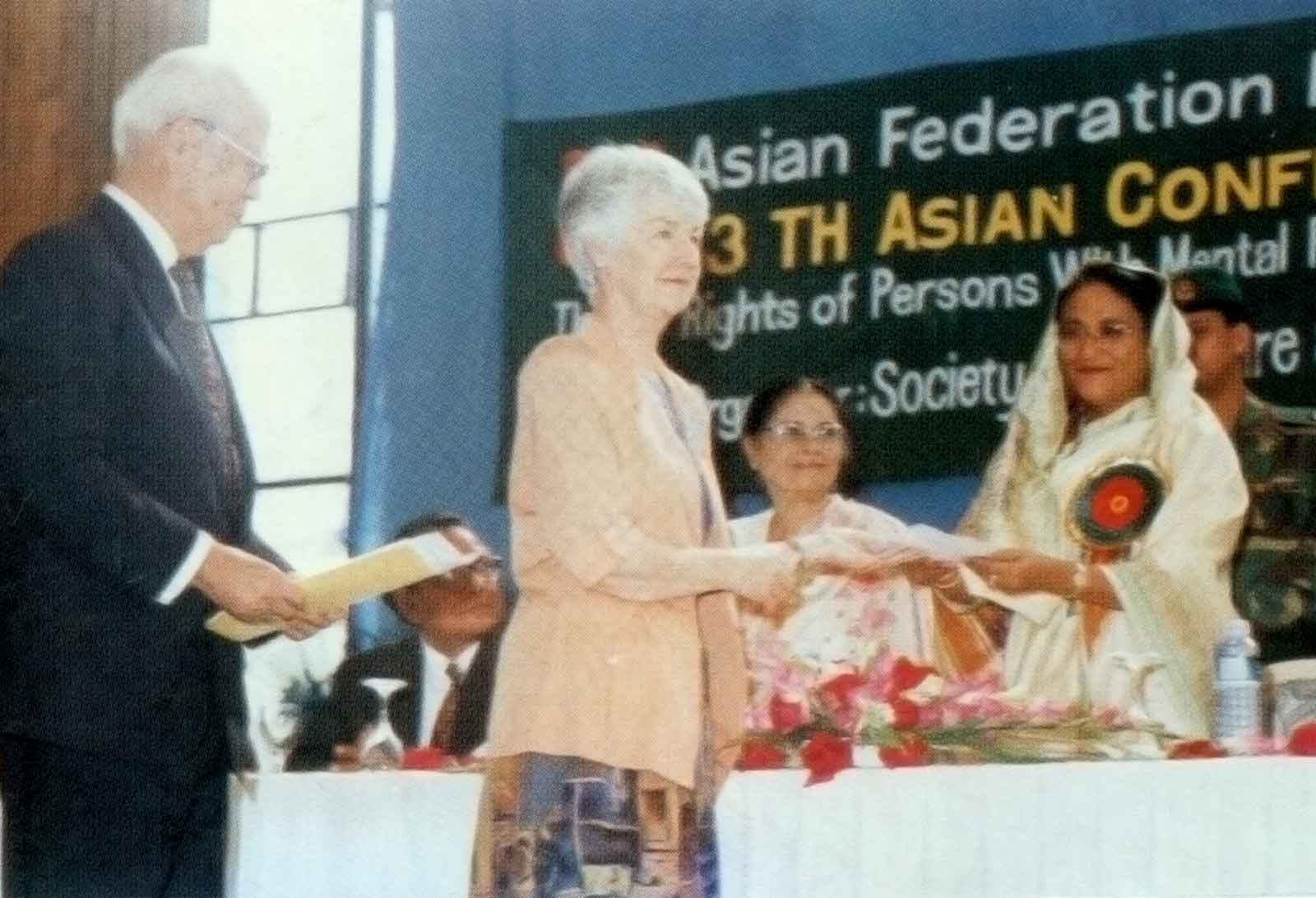 Foreign delegates with Prime Minister Sheikh Hasina at the 13th ACMR Bangladesh, 1997