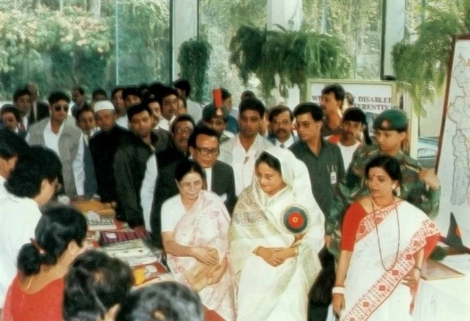 Prime Minister Sheikh Hasina visiting stalls at the 13th ACMR Bangladesh, 1997